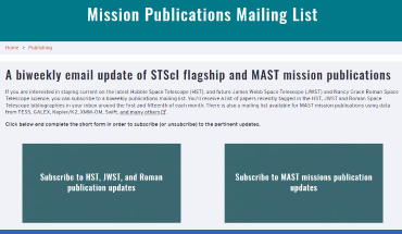 Mission Publications Mailing List page