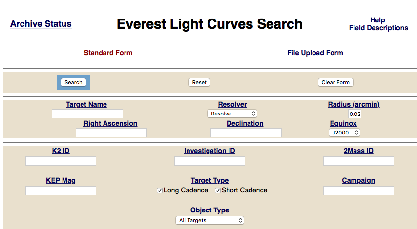Link to EVEREST MAST Classic Search Form