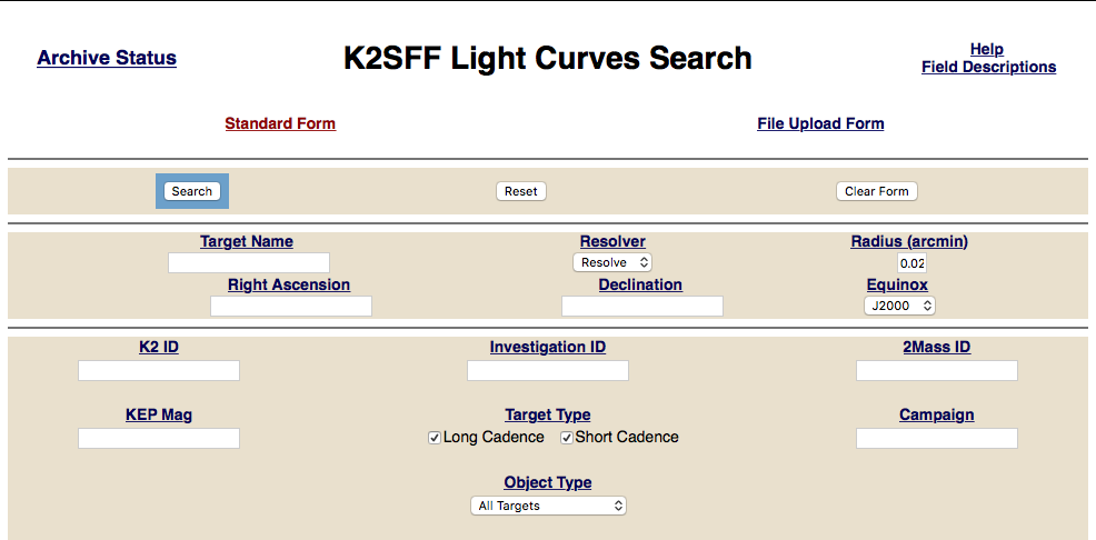 Link to K2SFF MAST Classic Search Form
