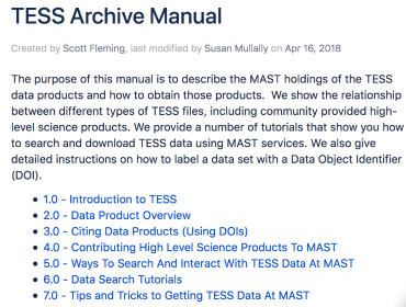 Screenshot of TESS Archive Manual
