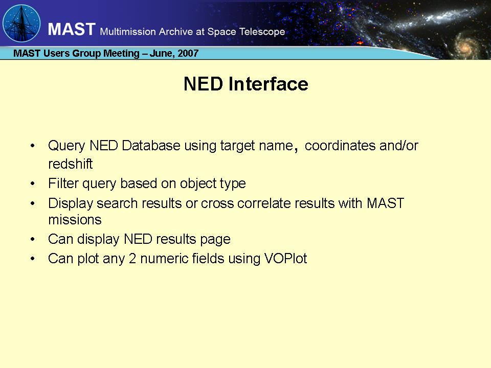 slide 1 of NED Cross-correlation presentation